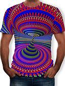 abordables Camisetas y Tops de Hombre-Hombre Estampado Camiseta Bloques / 3D / Gráfico