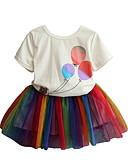 billige Pigekjoler-Børn Pige Gade Tegneserie Kortærmet Normal Polyester Tøjsæt Regnbue