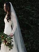 preiswerte Hochzeitsschleier-Einschichtig Europäischer Stil Hochzeitsschleier Kathedralen Schleier mit Perlenstickerei Baumwolle / Nylon mit einem Hauch von Stretch
