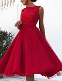 preiswerte Cocktailkleider-A-Linie Schmuck Knie-Länge Taft Kleid mit Muster / Druck durch LAN TING Express