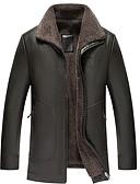 hesapli Erkek Gömlekleri-Erkek Günlük Sonbahar / Kış Normal Kürk Mont, Solid Aşağı Dönük Uzun Kollu Pamuklu Kahverengi / Siyah