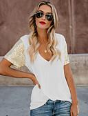 baratos Camisetas Femininas-Mulheres Camiseta Sólido Decote V Delgado Branco L