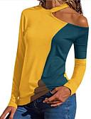 tanie Koszula-T-shirt Damskie Patchwork Szczupła - Kolorowy blok Czerwony L