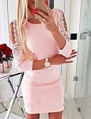 hesapli Mini Elbiseler-Kadın's Dışarı Çıkma Sokak Şıklığı Bandaj Elbise - Solid, Dantel Diz üstü