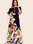 billige Kjoler med trykk-Dame Grunnleggende Swing Kjole - Blomstret, Trykt mønster Maksi