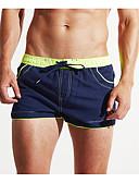 cheap Men's Swimwear-Men's Navy Blue Boy Leg Bottoms Swimwear - Color Block L XL XXL Navy Blue / Sexy