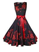 お買い得  ヴィンテージドレス-女性用 フレア ドレス フラワー 膝上