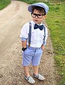 お買い得  男児 ウェアセット-子供 / 幼児 男の子 活発的 / ベーシック ソリッド リボン 長袖 コットン / スパンデックス アンサンブル ホワイト