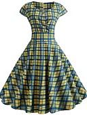 voordelige Vintagejurken-Dames Vintage A-lijn Jurk - Ruitjes, Print Boven de knie