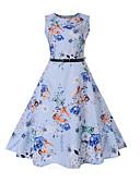 cheap Vintage Dresses-Women's Basic Sheath Dress - Floral Print Light Blue L XL XXL