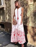 tanie Print Dresses-Damskie Zmiana Sukienka W serek Maxi