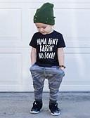 Χαμηλού Κόστους Βρεφικά Για Αγόρια σετ ρούχων-Μωρό Αγορίστικα Καθημερινό / Βασικό Στάμπα Στάμπα Κοντομάνικο Κανονικό Βαμβάκι / Spandex Σετ Ρούχων Μαύρο