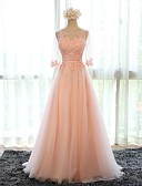 cheap Evening Dresses-A-Line Scoop Neck Floor Length Tulle Formal Evening Dress with Appliques by LAN TING Express