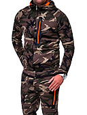 cheap Men's Hoodies & Sweatshirts-Men's Military Hoodie - Camo / Camouflage Green XL