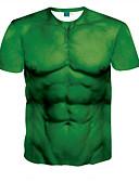 billige T-shirt-Rund hals Herre - 3D T-shirt Grøn