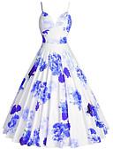 halpa Vintage-kuningatar-Naisten Pluskoko Bile 1950-luku A-linja Mekko - Kukka, Painettu Olkaimellinen Polvipituinen