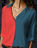 billige Todelt dress til damer-Skjortekrage Store størrelser Skjorte Dame - Fargeblokk Gul