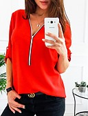 cheap Women's Shirts-2019 New Arrival Shirts Women's Plus Size Shirt - Solid Colored Camisas Mujer Chemise Femme V Neck Red XXXL