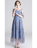 preiswerte Abendkleider-A-Linie Schmuck Knöchel-Länge Tüll Kleid mit Stickerei durch LAN TING Express