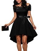 Недорогие Праздничные платья-Жен. Тонкие А-силуэт Платье - Однотонный С открытыми плечами Ассиметричное