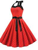 זול מלכת הוינטאג'-עד הברך דפוס, מנוקד - שמלה גזרת A אלגנטית בגדי ריקוד נשים