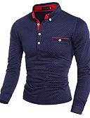 お買い得  メンズTシャツ&タンクトップ-男性用 プリント Polo シャツカラー スリム 水玉 / 波点 コットン ホワイト XL / 長袖