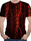 povoljno Muške majice i potkošulje-Majica s rukavima Muškarci 3D Okrugli izrez Red