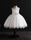 Χαμηλού Κόστους Φορέματα για κορίτσια-Παιδιά Κοριτσίστικα Βίντατζ / Γλυκός Μονόχρωμο Αμάνικο Ως το Γόνατο Φόρεμα Λευκό
