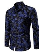 levne Pánské košile-Pánské - Květinový Košile Štíhlý Vodní modrá XL