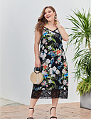 hesapli Print Dresses-Kadın's Temel Kılıf Elbise - Çiçekli, Dantel Midi
