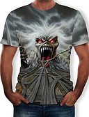 cheap Men's Clothing-Men's T-shirt - 3D / Skull Print Round Neck Gray