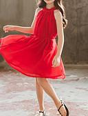 povoljno Ženski jednodijelni kostimi-Djeca Dijete koje je tek prohodalo Djevojčice Aktivan slatko Jednobojni Drapirano Bez rukávů Haljina Red / Pamuk