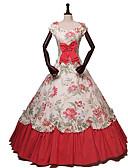 Χαμηλού Κόστους Φορέματα Λολίτα-Πριγκίπισσα Rococo Victorian 18ος αιώνας Στολές Γυναικεία Φορέματα Κοστούμι πάρτι Στολές Κόκκινο Πεπαλαιωμένο Cosplay Μασκάρεμα Πάρτι & Βραδινή Έξοδος Κοντομάνικο Ώμοι Έξω Μακρύ Μακρύ Μήκος