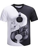 billige T-skjorter og singleter til herrer-Rund hals Store størrelser T-skjorte Herre - Fargeblokk / 3D / Hodeskaller, Trykt mønster Grunnleggende / overdrevet Hvit XXL / Kortermet / Sommer
