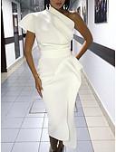 זול שמלות NYE-כתפיה אחת מידי פרנזים, אחיד - שמלה צינור רזה סקסי מועדונים בגדי ריקוד נשים