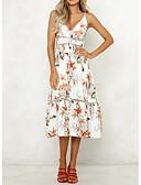 cheap Women's Dresses-Women's Basic Swing Dress - Geometric Print White M L XL