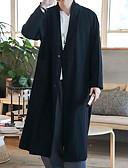 cheap Men's Pants & Shorts-Men's Daily Basic Fall Long Coat, Solid Colored Turndown Long Sleeve Cotton Black / Red XL / XXL / XXXL
