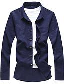 お買い得  メンズシャツ-男性用 プラスサイズ シャツ レギュラーカラー スリム ソリッド ブラック XXXXL