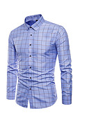 cheap Men's Sweaters & Cardigans-Men's Plus Size Shirt - Check Blue XXXL
