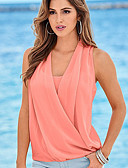 cheap Women-Women's Slim Blouse - Solid Colored V Neck Green M