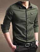 お買い得  メンズブレザー&スーツ-男性用 シャツ ソリッド ネイビーブルー XXL / 長袖