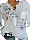 baratos Blusas Femininas-Mulheres Blusa Floral / Estampado, Floral Decote V Solto Vermelho XXXL / Primavera / Verão
