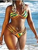 preiswerte Badebekleidung in Übergröße-Damen Boho Grün Rote Halter Tanga-Bikinihose Tankinis Bademode - Einfarbig Tribal Rückenfrei mit Schnürung M L XL Grün