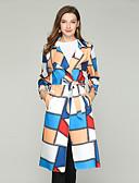 cheap Women's Coats & Trench Coats-Women's Daily Active Fall & Winter Long Trench Coat, Geometric Notch Lapel Long Sleeve Polyester Print Rainbow M / L / XL