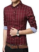 お買い得  メンズシャツ-男性用 プラスサイズ シャツ チェック コットン ライトブルー XXXL