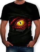 hesapli Erkek Tişörtleri ve Atletleri-Erkek Yuvarlak Yaka Tişört Desen, 3D / Hayvan / Karton Siyah