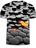 cheap Men's Shirts-Men's Daily Basic / Street chic T-shirt - Color Block / 3D Print Round Neck Black XXXXL / Short Sleeve