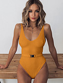 cheap One-piece swimsuits-Women's Orange Red Beige Cheeky One-piece Swimwear - Solid Colored S M L Orange