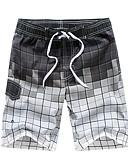 זול בגדי ים לגברים-פול XL XXL XXXL משובץ דמקה, בגדי ים חלקים תחתונים מכנסי שחייה פול תלתן אפור בגדי ריקוד גברים