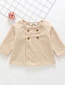 billige Ytterklær til baby-Baby Jente Aktiv / Grunnleggende Ensfarget Akryl / Polyester / Nylon Trenchcoat Beige